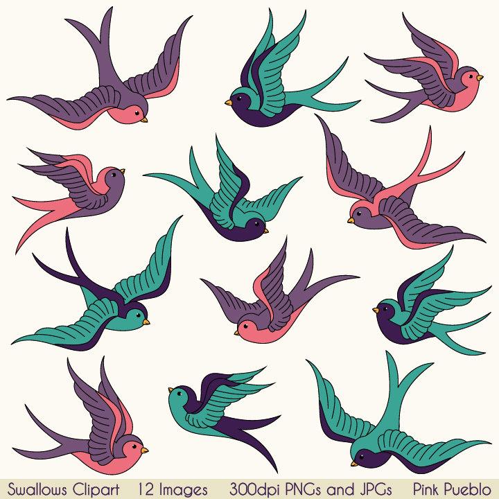 720x720 Swallows Clip Art Clipart, Birds Clipart Clip Art, Vintage Tattoo