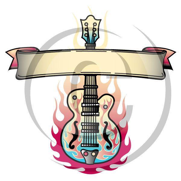 600x600 Tattoo Clip Art Clipart Guitar Flames Rock And Roll