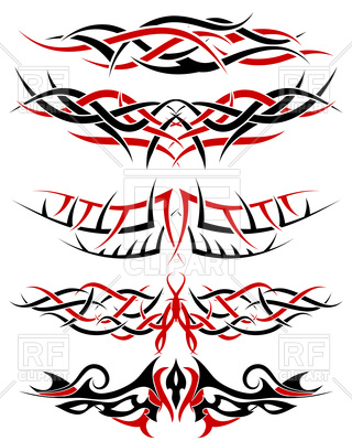 320x400 Black With Red Patterns Of Tribal Tattoo Royalty Free Vector Clip