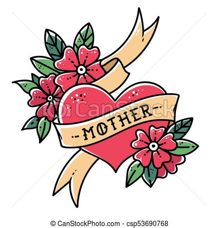 450x470 Tattoo Heart With Ribbon, Flowers And Word Mother. Old Clip Art
