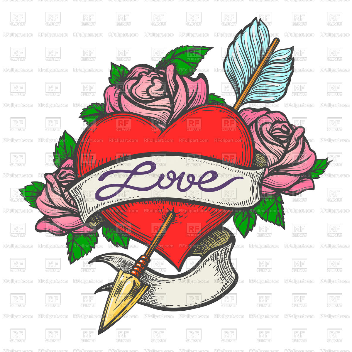 1200x1200 Heart Pierced By Arrow With Ribbon In Tattoo Style Royalty Free