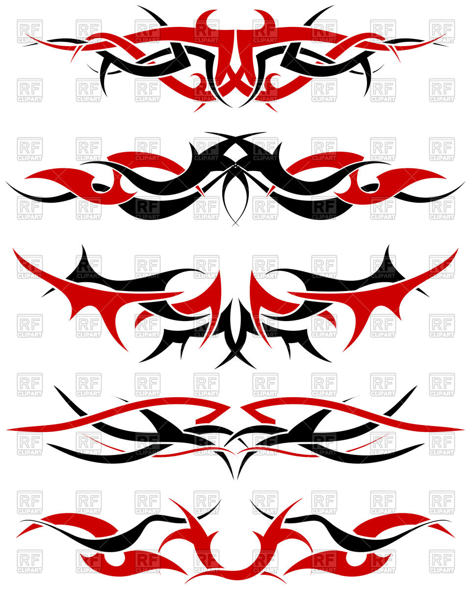 960x1200 Set Of Black And Red Tribal Tattoo Patterns Royalty Free Vector