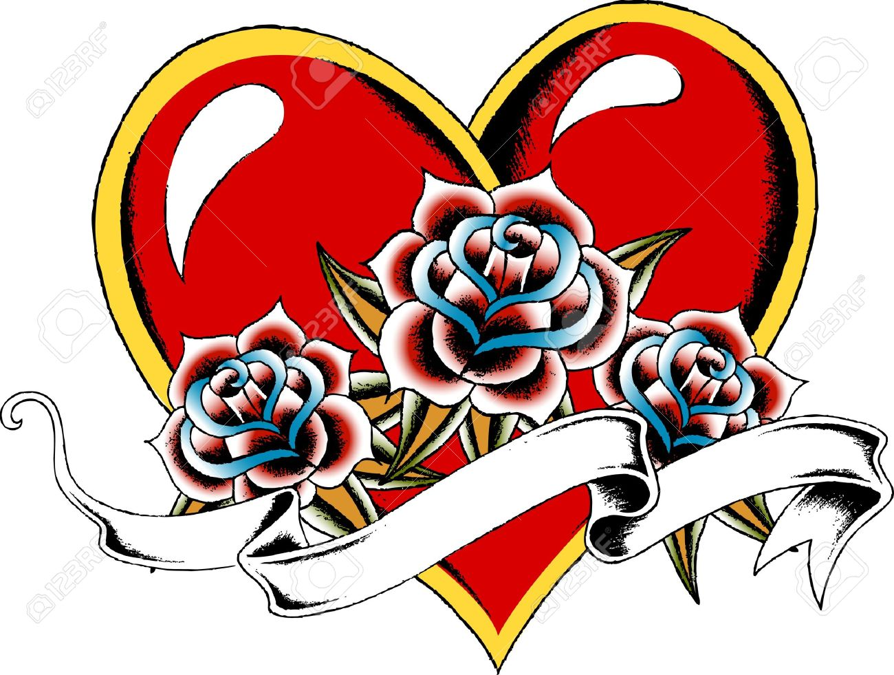 1300x981 Collection Of Red Heart With Banner Tattoo Design