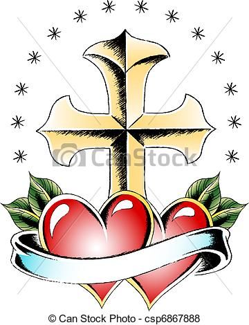 360x470 Cross And Heart Tattoo Stock Illustration