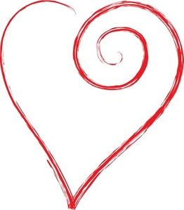 262x300 Heart Clipart Image Clip Art Illustration Of A Scrolled Large Red