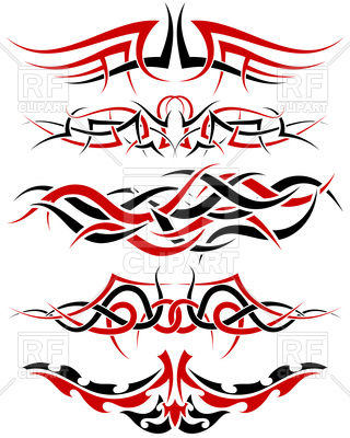 320x400 Patterns Of Black And Red Tribal Tattoo Design Royalty Free Vector