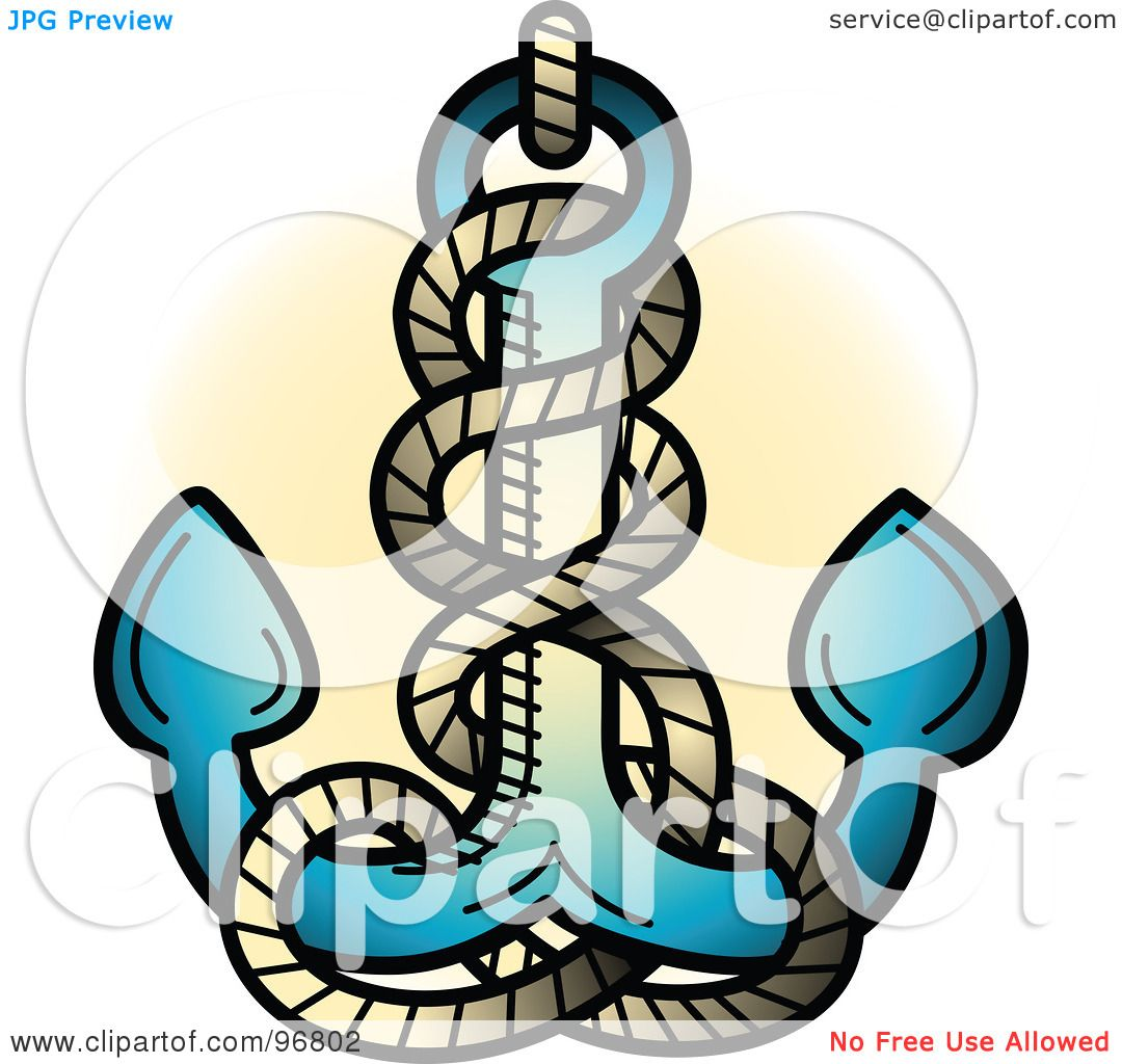 1080x1024 Royalty Free (Rf) Clipart Illustration Of A Blue Anchor And Rope