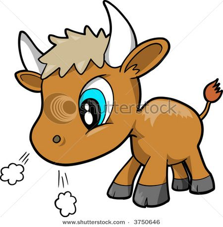 450x459 13060 Cute Baby Bull Preparing To Charge Clipart Graphic