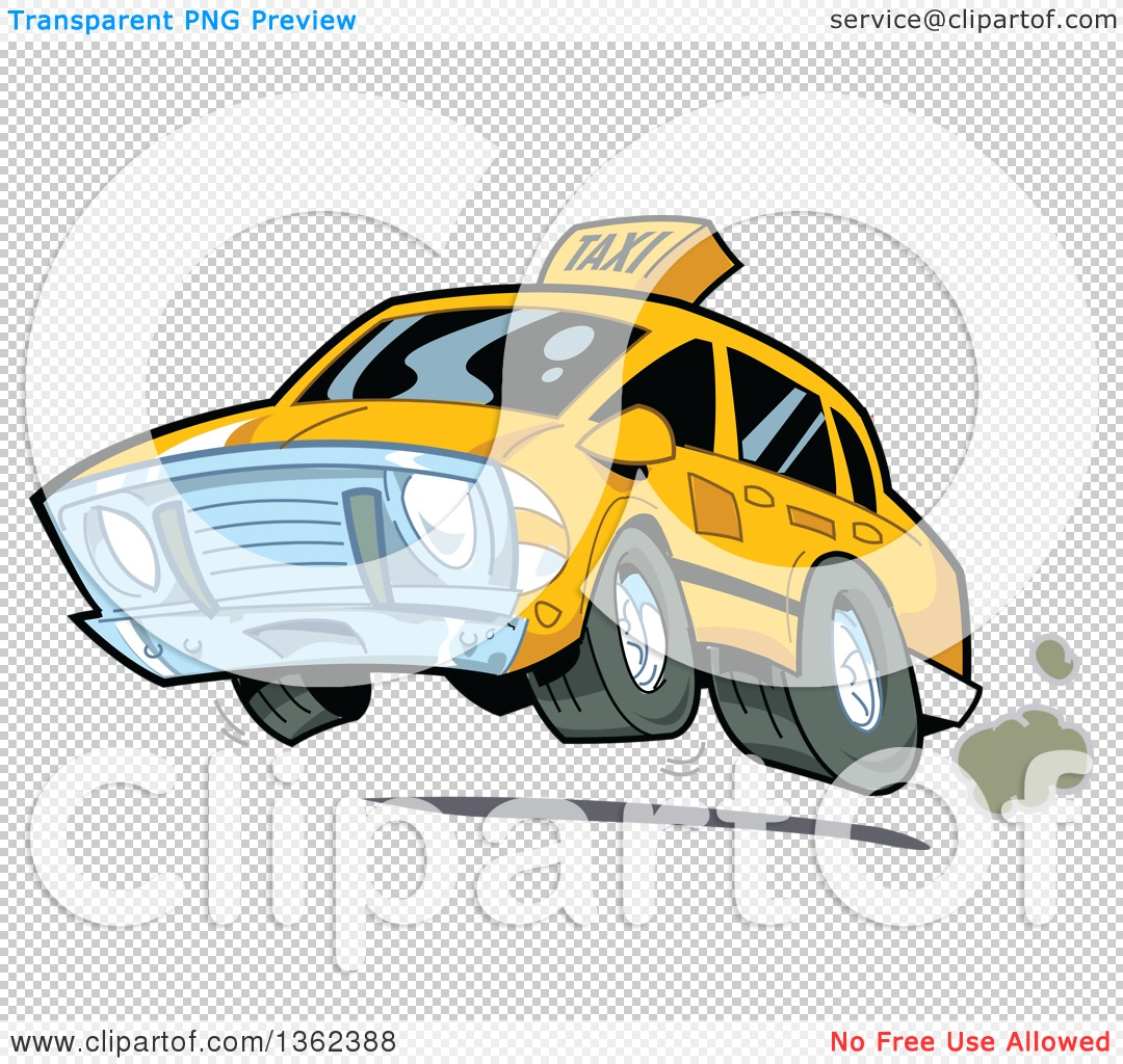 1080x1024 Clipart Of A Cartoon Taxi Cab Speeding And Catching Air