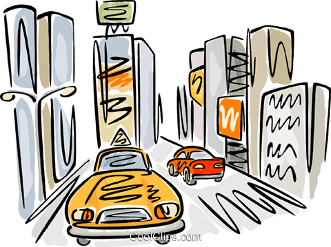 480x359 Taxi On A Busy Street Royalty Free Vector Clip Art Illustration