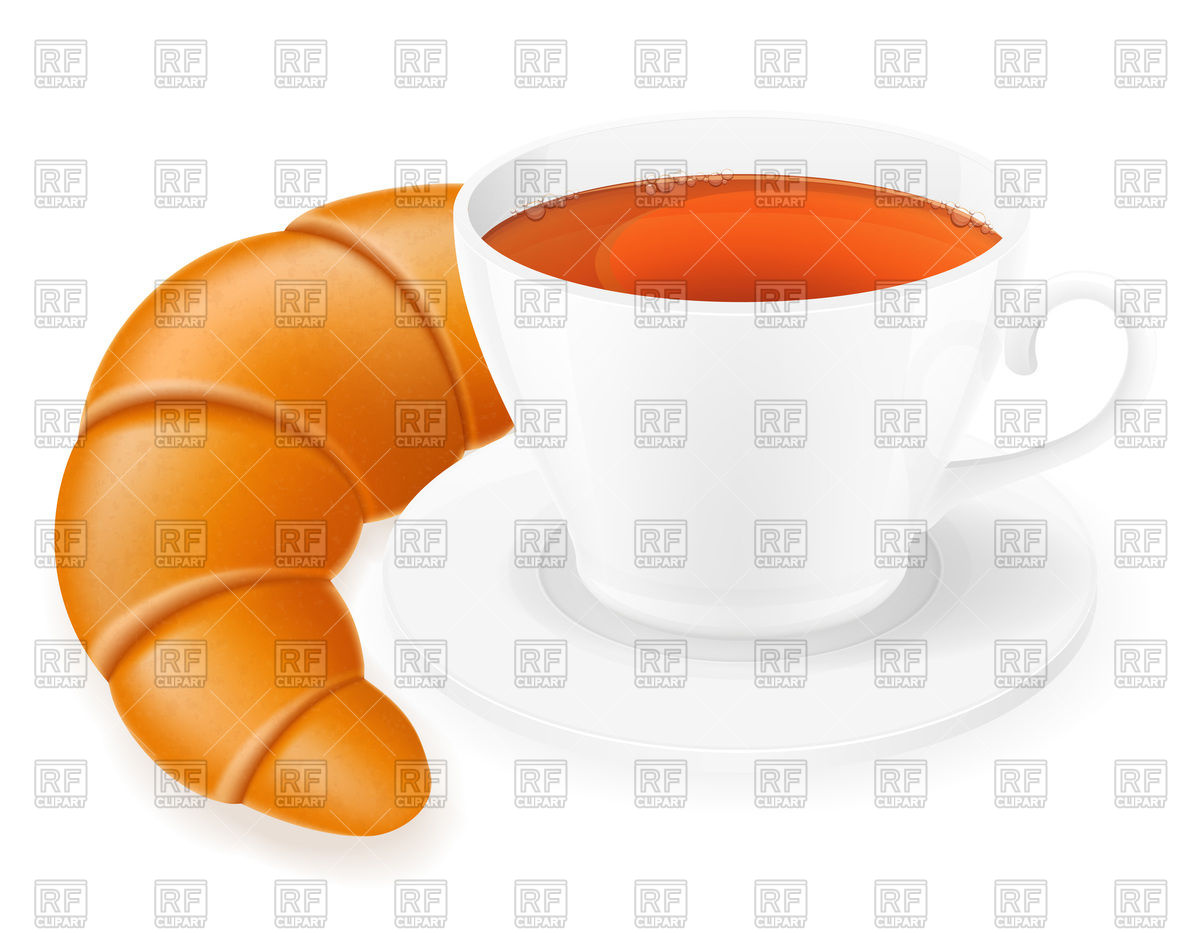 1200x933 Cup Of Tea And Croissant Royalty Free Vector Clip Art Image