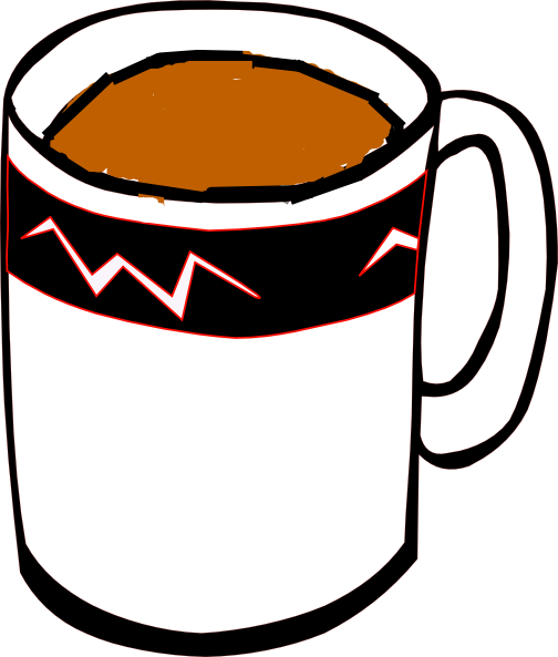 504x593 Tea Mug In White, Black And Red Clip Art