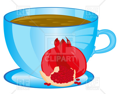 400x320 Cup Of The Drink Tea And Fruit Garnet On White Background Royalty