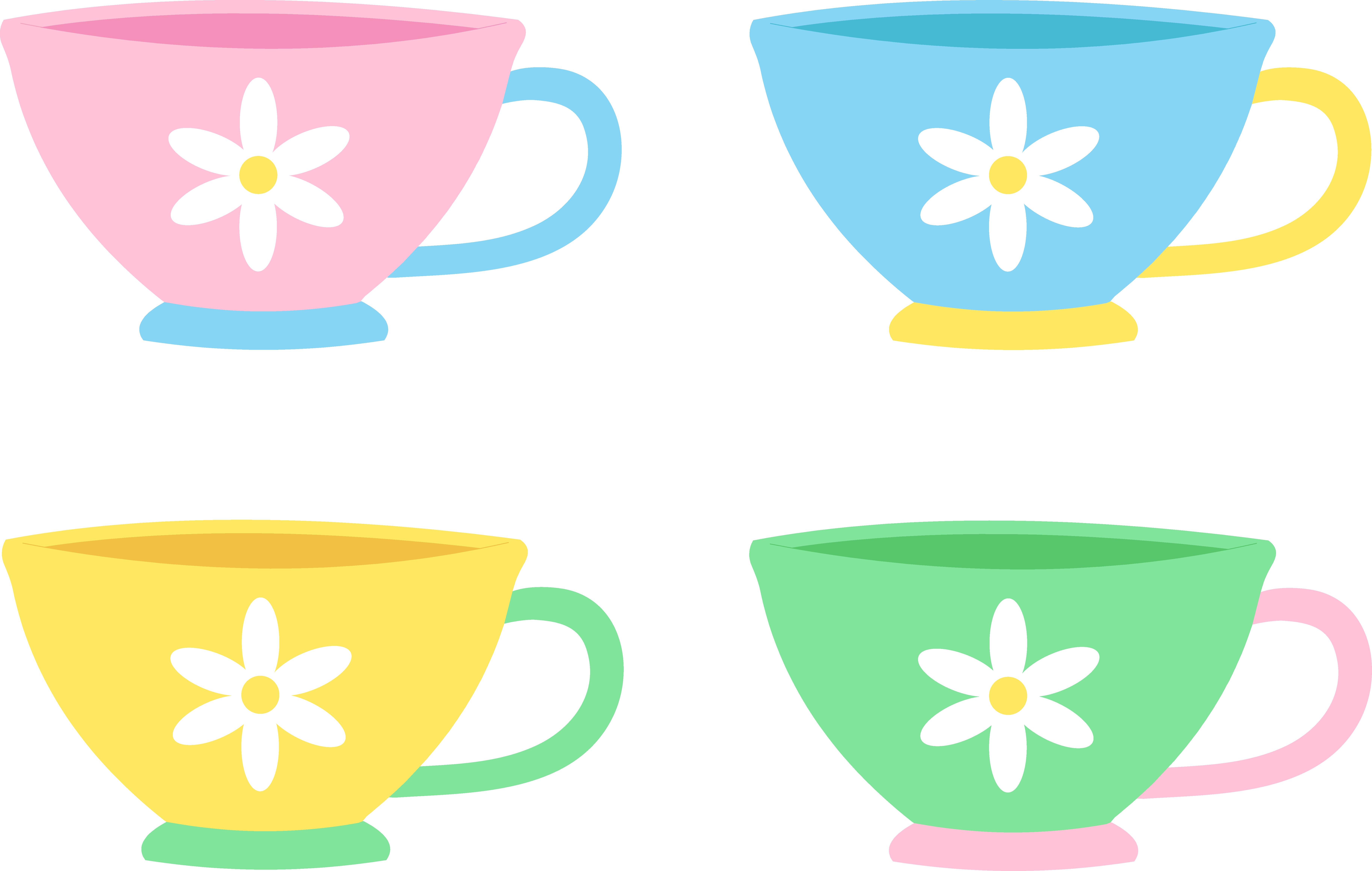 7305x4636 Set Of Four Cute Pastel Tea Cups