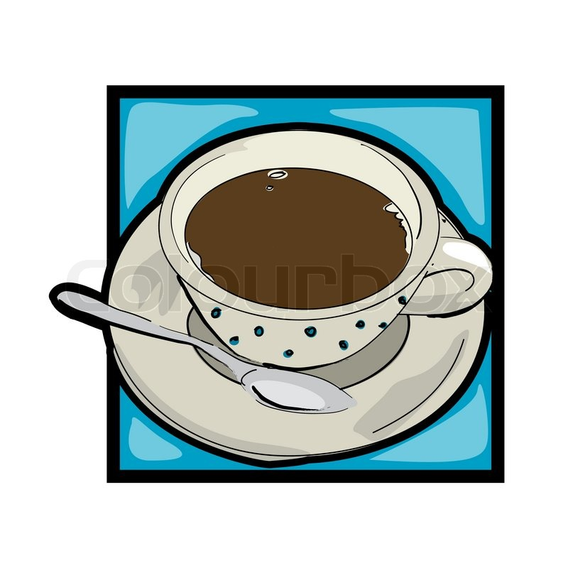 800x800 Classic Clip Art Graphic Icon With Coffee Cup And Spoon Stock