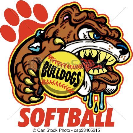 450x452 Bulldog Softball Team Design With Mascot For School, College