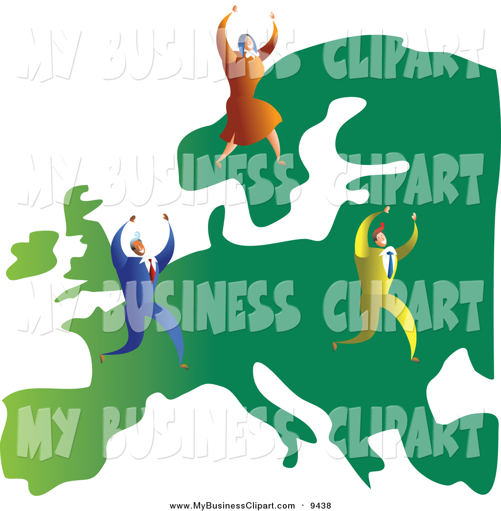 1024x1044 Vector Clip Art Of A Successful Caucasian Business Team On A Map