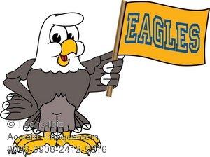 300x224 Clip Art Illustration Of A Bald Eagle With Team Flag