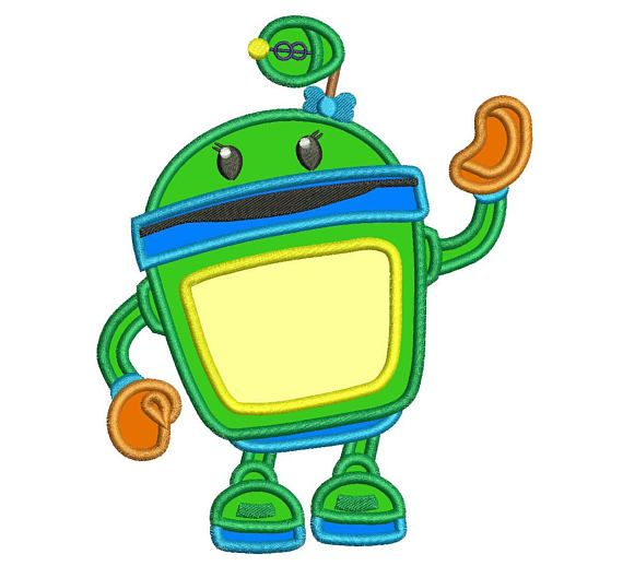570x518 Team Umizoomi Bot Applique Design 3 Sizes Instant Download