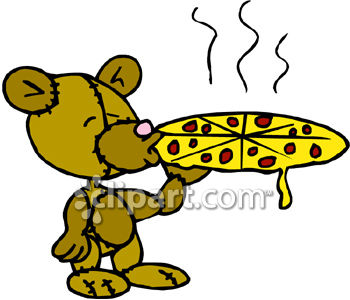 350x300 Royalty Free Clip Art Image A Teddy Bear Eating A Pizza
