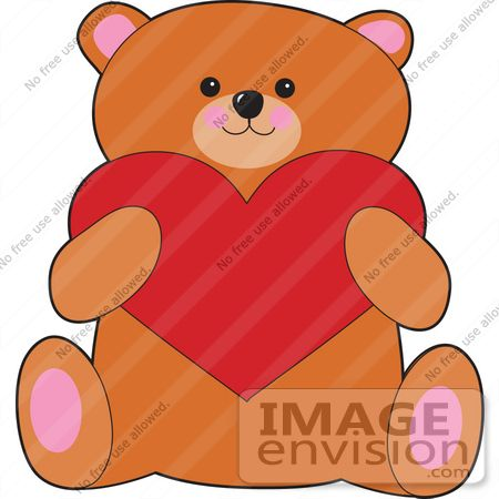 450x450 Clip Art Graphic Of A Valentines Day Teddy Bear Holding A Big Red