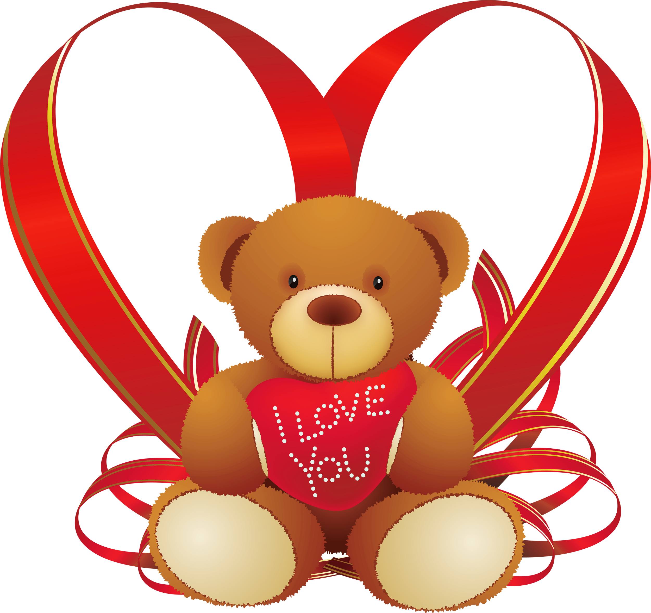 2500x2353 Red Heart With Teddy Bear Png Clipart