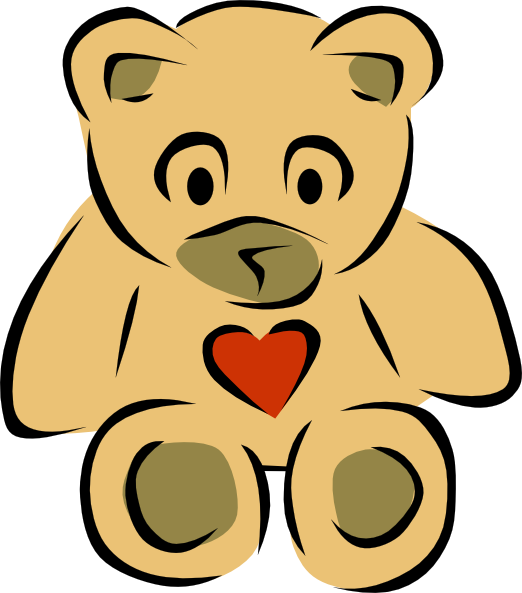 522x593 Stylized Teddy Bear With Heart Clip Art Free Vector 4vector