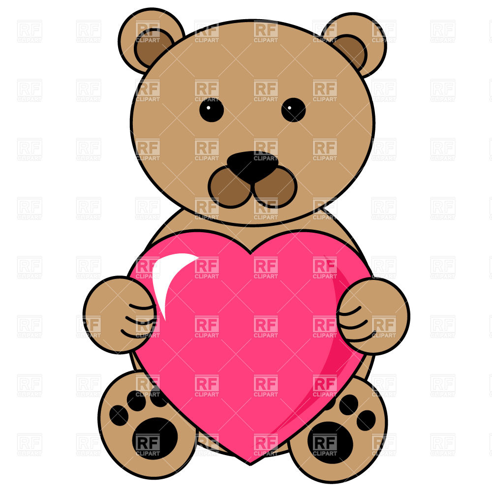 1000x1000 Teddy Bear With Heart Royalty Free Vector Clip Art Image