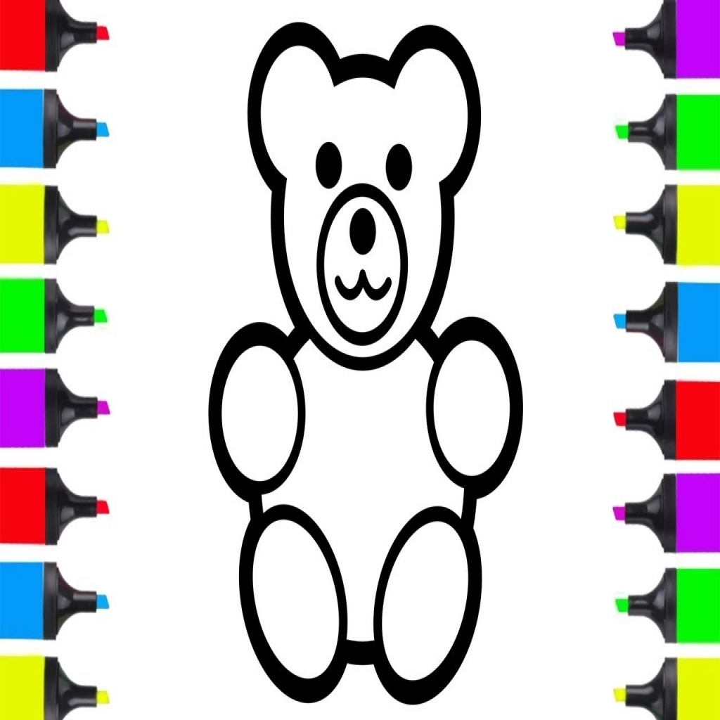 1024x1024 How To Draw Teddy Bear Easy Coloring Pages For Kids Learn Intended