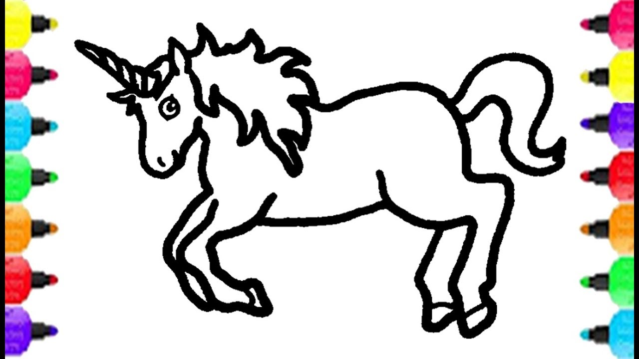 1280x720 How To Draw Unicorn Coloring Pages Drawing Unicorn And Coloring