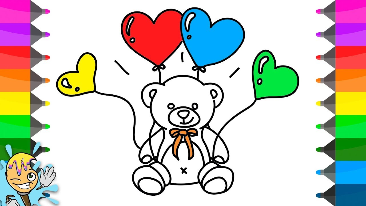 1280x720 How To Draw Teddy Bear With Balloons. Coloring Pages. Learning