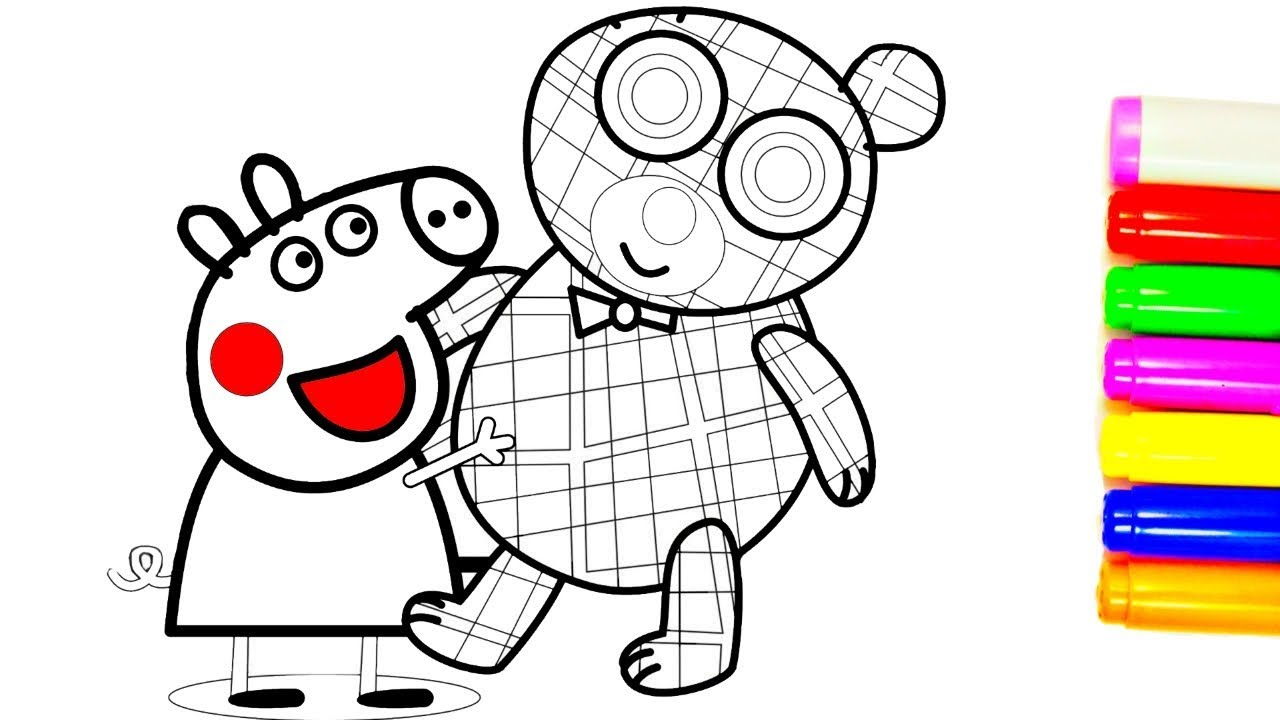 1280x720 Peppa Pig Teddy Bear Coloring Pages Peppa Coloring Book