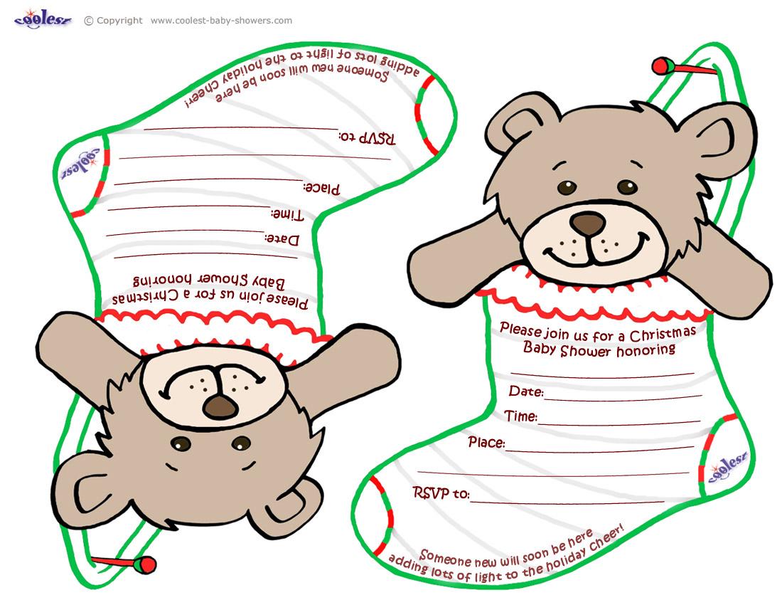 1100x850 Printable Teddy Bear Stocking Baby Shower Invitations