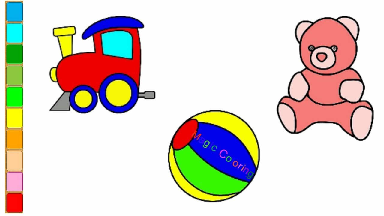 1280x720 Toys Coloring Pages For Kids How To Draw A Train, Beach Ball