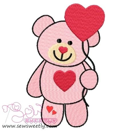 458x458 Valentine Teddy Bear 5 Embroidery Design Coloring Pages