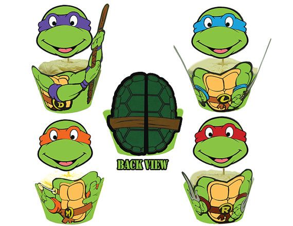 570x440 Teenage Mutant Ninja Turtles Cupcake Toppers By Partymakeover