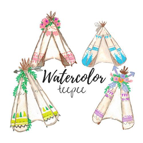 500x500 Watercolor Tribal Teepee Clip Art Scrapbook Supplies Tribal