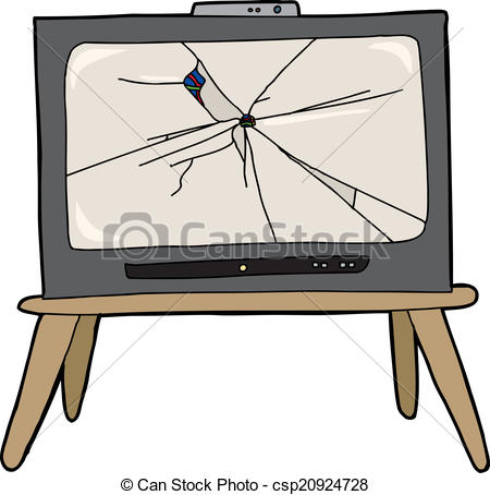 450x454 Broken Television. Modern Television With Bullet Hole