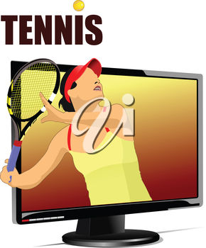 290x350 Clipart Illustration Of A Basketball Player On Tv