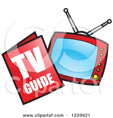 450x470 Clipart Of A Tv Guide Magazine And Television