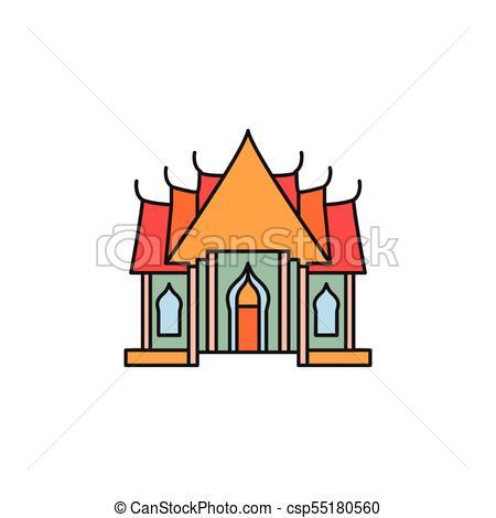 450x470 Thailand Cartoon Icon. Temple Cartoon Icon. Thailand Temple