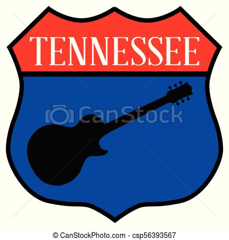 450x470 Tennessee Guitar Highway Sign. Route Style Traffic Sign
