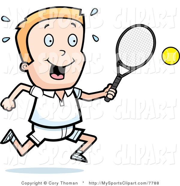 600x620 Sports Clip Art Of A Tennis Boy With A Racket And Ball By Cory
