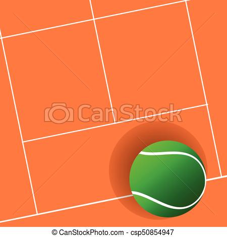 450x470 Tennis Ball Green On Court Illustration In Colorful.