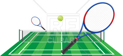 400x182 Tennis Court Perspective View And Rackets Royalty Free Vector Clip