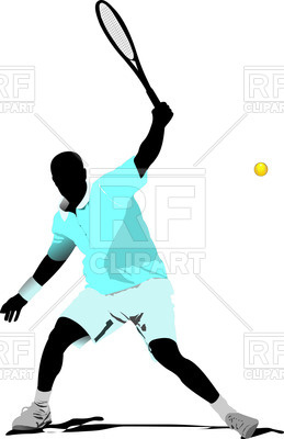 259x400 Colored Silhouette Of Tennis Player With Racket Royalty Free