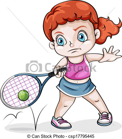 413x470 Illustration Of A Caucasian Girl Playing Tennis On A White Eps