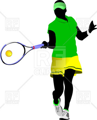 323x400 Silhouette Of Woman Tennis Player Hit Ball Royalty Free Vector