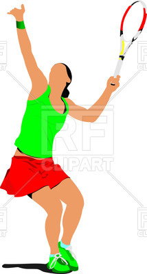 214x400 Silhouette Of Woman Tennis Player In Action Royalty Free Vector