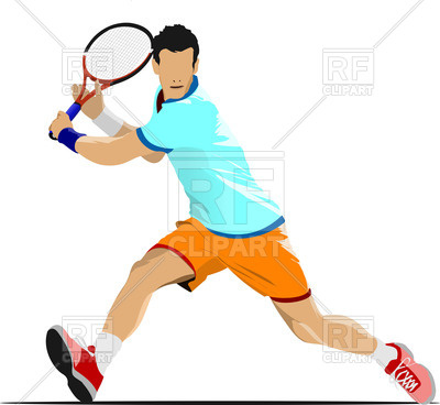 400x368 Tennis Player In Blue T Shirt On White Background Royalty Free